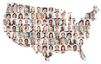Portrait Collage von Geschäftsleuten auf USA Karte