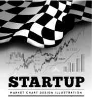 Startup concept with checkered start flag and trading graph on background. Vector