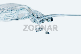 Small water wave with air bubbles