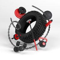 3d-illustration of fitness workout equipment on white background. Tire, sledgehammer, weight, dumbbell, bottle, chain, med ball.