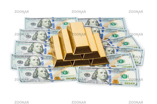 Gold bars and money