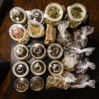 Set of teas in glass jars and bags