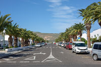 Wide road in the city of Arrieta on the island of Lanzarote. December 2018.