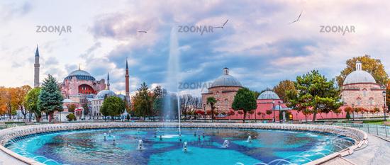 Sultan Ahmet Square panorama, view on the fountain, the Hagia Sophia and the brahim Han Sebili, Istanbul