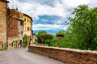 Street of the medieval village Volterra. Italy, Tuscany