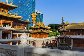 Shanghai, China - May 23, 2018: Sunset view of the Jing An temple in Shanghai, China