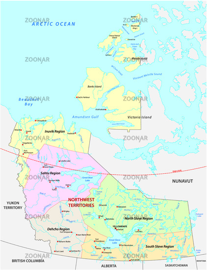 northwest territories political and administrative regions map canada