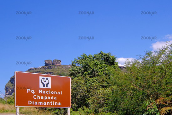 Signpost of the Parque Nacional Chapada Diamantina, portuguese for National Park, on the road to Lencois, Bahia, Brazil