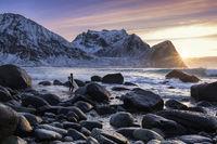 Surfer on the lofoten islands