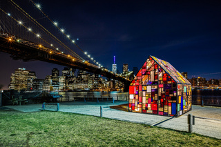 Tom Fruin's Stained Glass House Installed at Brooklyn Bridge Park and Lower Manhattan Skyline, New York United States