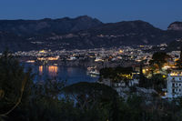 View of city on the Sorrento coast in Italy at the blue hour