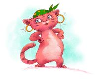 a funny red cat character for fairy tale