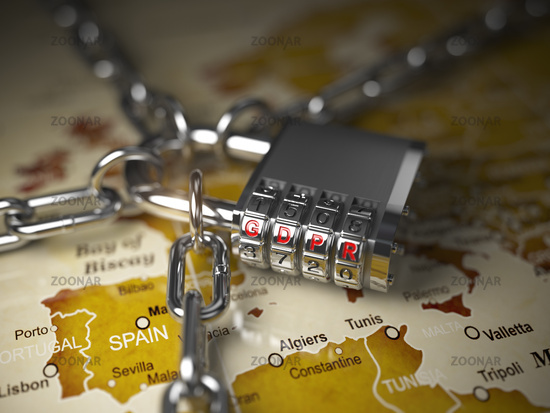 GDPR UA General Data Protection Regulation concept. Padlock with GDPR code on the map of Europe.