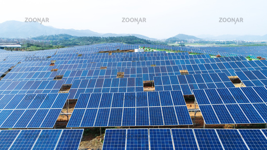Large solar panels are being exposed to sunlight
