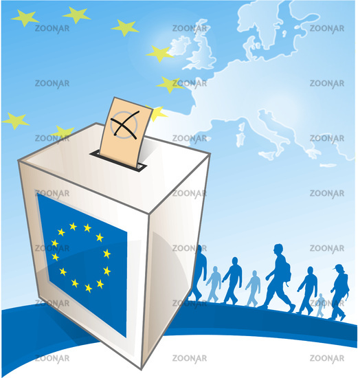 illustration of a ballot box in front of the European Map