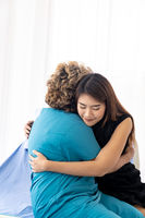 Daughter hug elderly mother