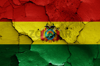flag of Bolivia painted on cracked wall