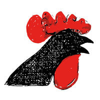 Cock illustration in red and black. Rasterized from sketch.