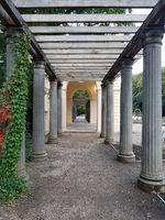Pergola and pavilion in the Municipal park in Pankow in autumn