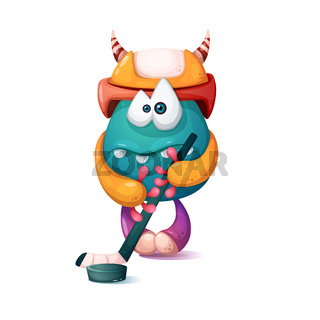 Funny, cute cartoon monster characters. Hockey illustration.