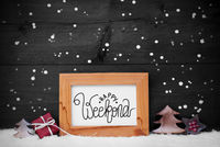 Frame, Gift, Tree, Snow, Snowflakes, Calligraphy Happy Weekend