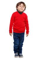 Kind kleiner Junge Ganzkörper Portrait Porträt isoliert Freisteller freigestellt