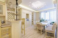 Luxury modern beige and white kitchen interior