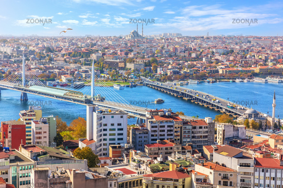 View on the Halic metro Bridge, the Ataturk Bridge and the Sultanahmet district of Istanbul