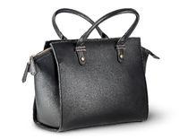 Elegant black leather ladies handbag