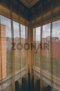 Looking Through Old Apartment Curtains Corner City Residential Landscape Asia