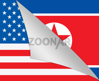 North Korean And US Diplomatic Flag 3d Illustration