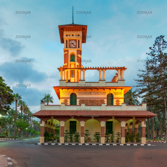 Facade of the clock tower in Montaza public park at sunrise time, Montaza public Park
