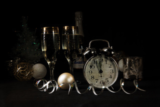 New Year, sparkling wine, candles, happy new year