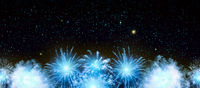 Abstract blue firework background . New Year background.