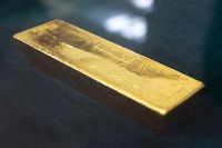 Gold bar bullion inverted