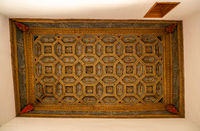 Casa de la Conchas and its ornate carved wooden ceiling in Salamanca Spain