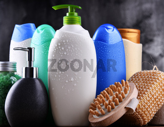 Plastic bottles of body care and beauty products.