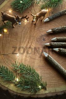 Wooden pencils on tree stump