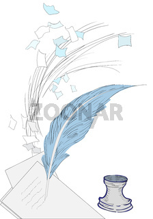 Scattered sheets of paper blown down and a quill pen