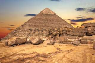 The Temple ruins and the Pyramid of Khafre, Giza, Egypt