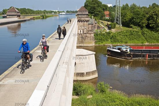 Waterway intersection, Minden, East Westphalia-Lippe, North Rhine-Westphalia, Germany, Europe