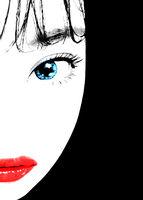 Cartoon Style Asian Woman Close Up Portrait Illustration