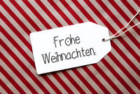 Red Wrapping Paper, Label, Frohe Weihnachten Mean Merry Christmas