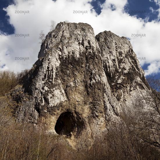 limestone formation Pater and Nonne and cave Gruermannshoehle, Iserlohn, Sauerland, Germany, Europe