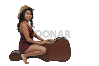 Woman with Guitar Case