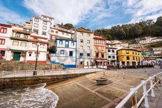 Cudillero, Spain - November 21, 2018: People in restaurants of famous fishers village of Cudillero, in Asturias, Spain.