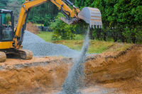 Industrial excavator for foundation building construction site, bucket details, dirt gravel