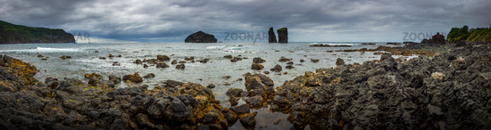 Coastal panorama in stormy weather