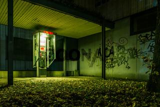 Scary Creepy Green Atmosphere Alone Empty Payphone Ghetto Graffiti Corner Dark Night Flourescent Light Corner Dangerous Eerie
