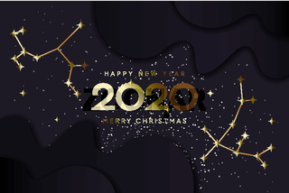 Happy New 2020 Year and Merry Christmas, constellation banner, vector illustration.